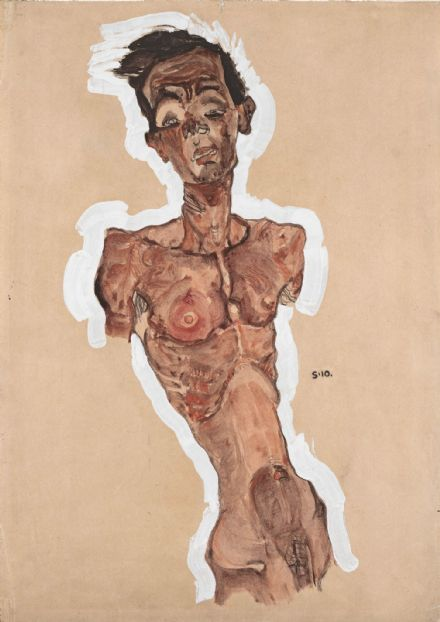 Schiele, Egon: Nude Self Portrait. Fine Art Print/Poster. Sizes: A4/A3/A2/A1 (003696)